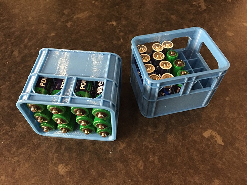 3D printed small battery crates