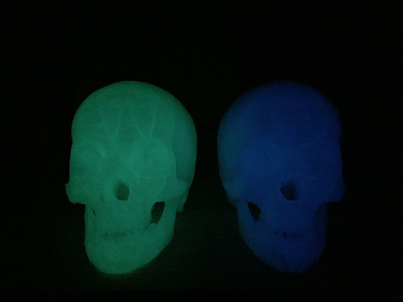 Green And Blue Glow In The Dark Skulls